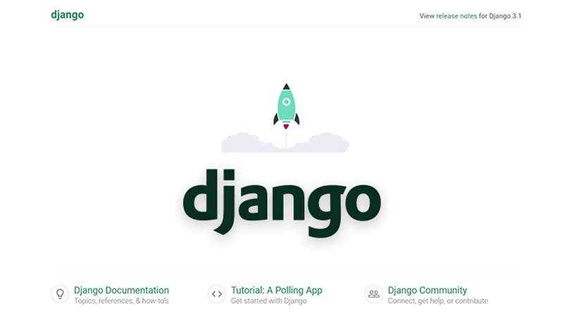 The default page served by Django on first run.