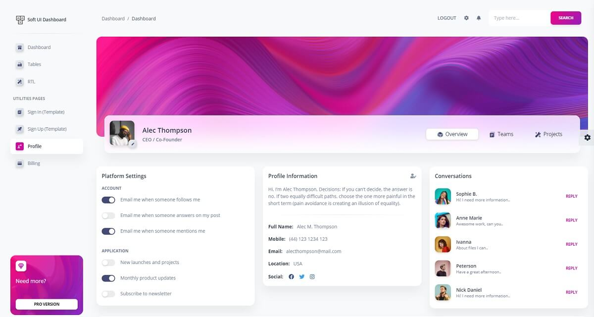 A colorful user profile page with a left menu and card plus user information in the center of page. The product used a Soft UI design and a Django core for the functionalities.